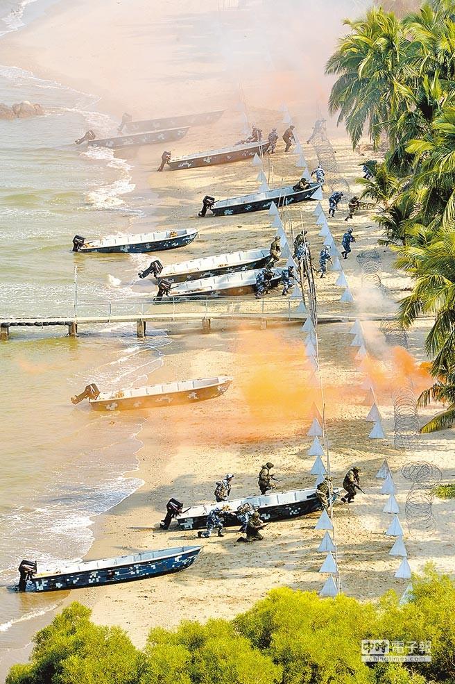 Hải quân Trung Quốc và Nga tổ chức diễn tập khoa mục đổ bộ đánh chiếm đảo đá trên Biển Đông. Ảnh: Chinatimes
