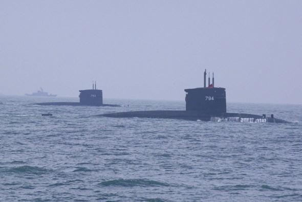 Tàu ngầm Đài Loan huấn luyện. Ảnh: defence.org.cn