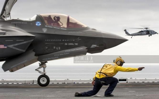Máy bay chiến đấu tàng hình F-35B cất hạ cánh thẳng đứng của lực lượng Thủy quân lục chiến Mỹ. Ảnh: Cankao