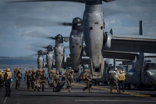 Máy bay vận tải cánh xoay nghiêng MV-22 Osprey của Thủy quân lục chiến Mỹ. Ảnh: USNI News