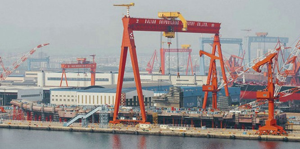 Trung Quốc chế tạo tàu sân bay nội đầu tiên Type 001A. Ảnh: Thời báo Hoàn Cầu.