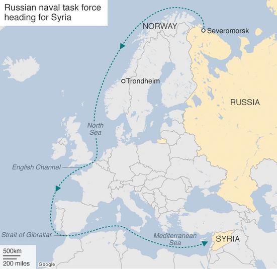 Hành trình đến Địa Trung Hải của cụm chiến đấu tàu sân bay Kuznetsov Hải quân Nga. Ảnh: BBC