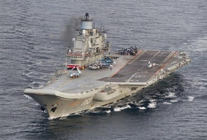 Tàu sân bay Kuznetsov Hải quân Nga đi qua vùng biển Na Uy. Ảnh: Daily Mail