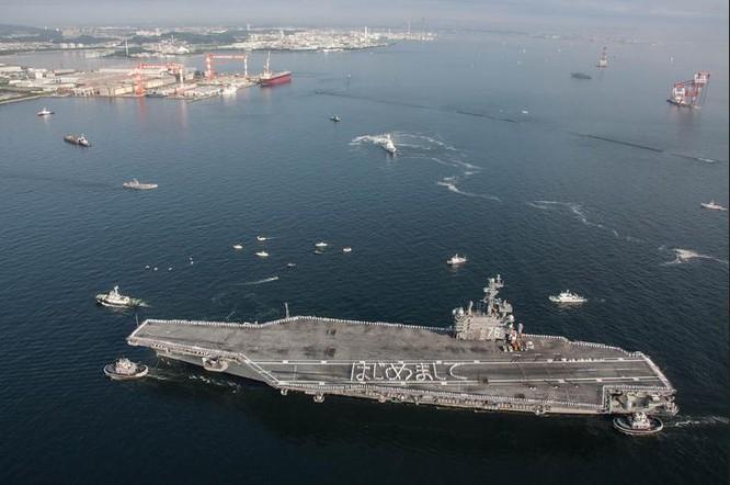 Tàu sân bay động cơ hạt nhân USS Ronald Reagan Hải quân Mỹ triển khai ở Yokosuka, Nhật Bản (ảnh tư liệu)