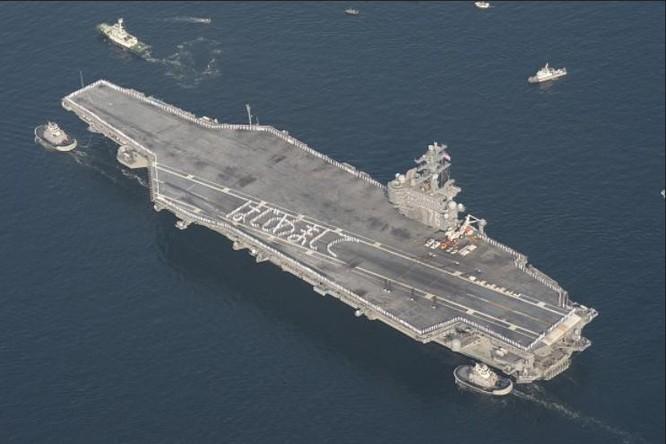 Tàu sân bay động cơ hạt nhân USS Ronald Reagan Hải quân Mỹ triển khai ở Yokosuka, Nhật Bản từ tháng 10/2015 (ảnh tư liệu)