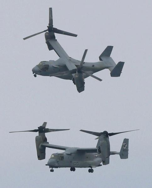 Máy bay vận tải cánh xoay nghiêng MV-22 Osprey Mỹ hạ cánh xuống tàu sân bay trực thăng Hyuga Nhật Bản trong cuộc diễn tập liên hợp ngày 14/6/2013 (ảnh tư liệu)