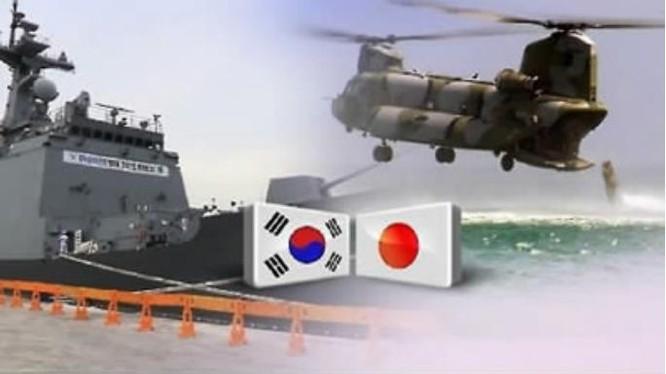 Nhật Bản và Hàn Quốc tăng cường hợp tác quân sự - an ninh. Ảnh: Tân Hoa xã