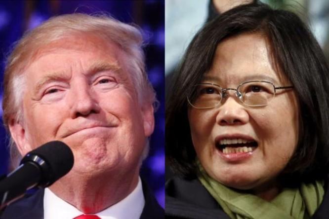 Tổng thống đắc cử Mỹ Donald Trump và Tổng thống Đài Loan Thái Anh Văn. Ảnh: guancha