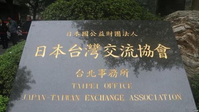 Biển của Hiệp hội giao lưu Nhật Bản - Đài Loan. Ảnh: VOA