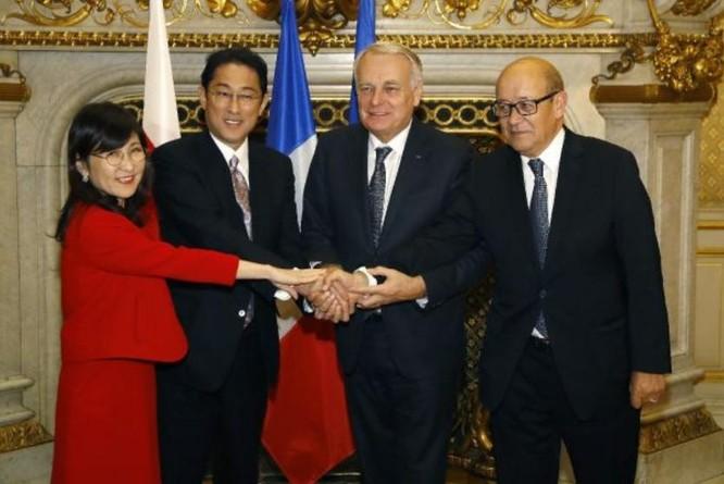 Hội nghị 2+2 giữa Bộ trưởng Ngoại giao và Bộ trưởng Quốc phòng Nhật Bản và Pháp ngày 6/1/2017. Ảnh: Cankao