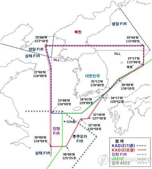 Vùng nhận dạng phòng không (ADIZ) Hàn Quốc và Trung Quốc chồng lấn lên nhau. Ảnh: Guancha
