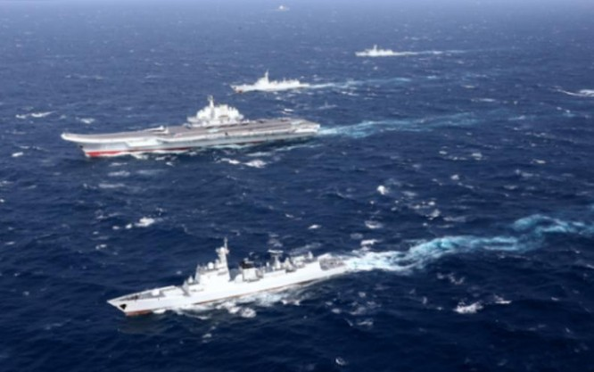 Biên đội tàu sân bay Liêu Ninh Trung Quốc. Ảnh: Cankao