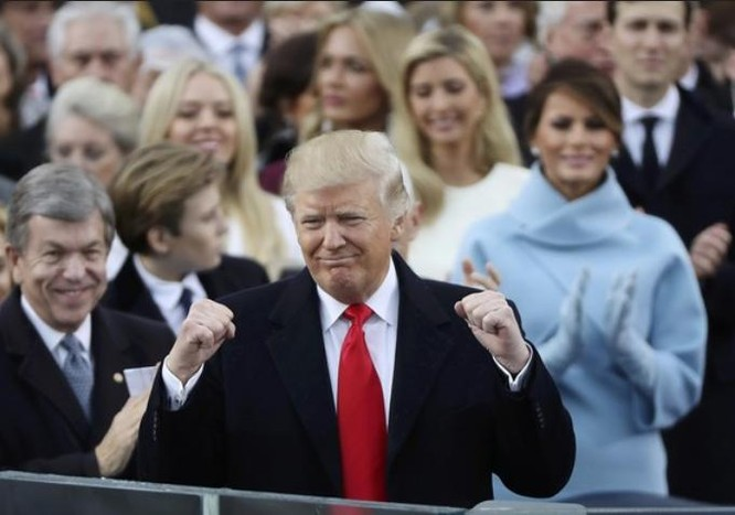 Ông Donald Trump trong lễ nhậm chức Tổng thống Mỹ ngày 20 tháng 1 năm 2017