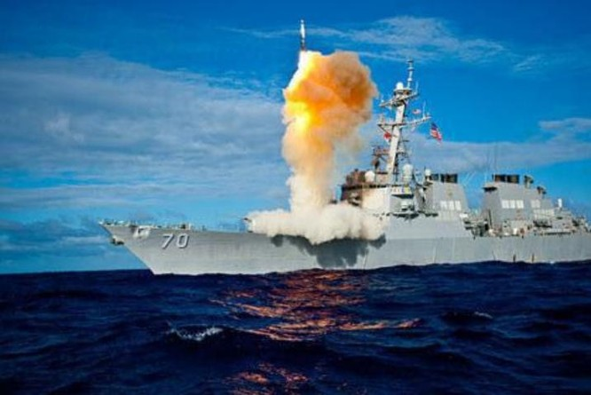 Tên lửa đánh chặn SM-3 phóng từ tàu Aegis. Ảnh: Sina