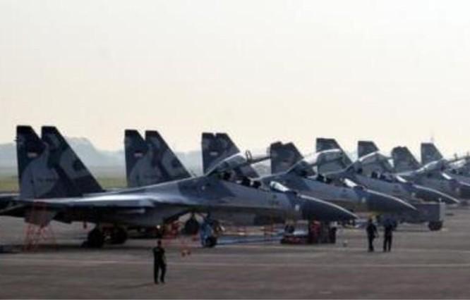Phi đội máy bay chiến đấu Su-30MKK của Không quân Indonesia. Ảnh: Sina