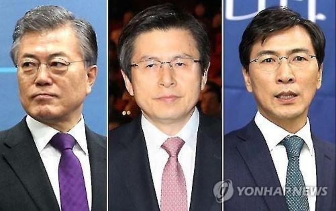 Các ứng cử viên Tổng thống Hàn Quốc gồm các ông Moon Jae-in, Hwang Kyo-ahn và An Hee-jung. Ảnh: Yonhap
