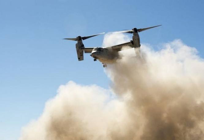 Ngày 5/1/2017, máy bay vận tải cánh xoay nghiêng MV-22 Osprey triển khai tập luyện ở Djibouti, châu Phi. Ảnh: Cankao