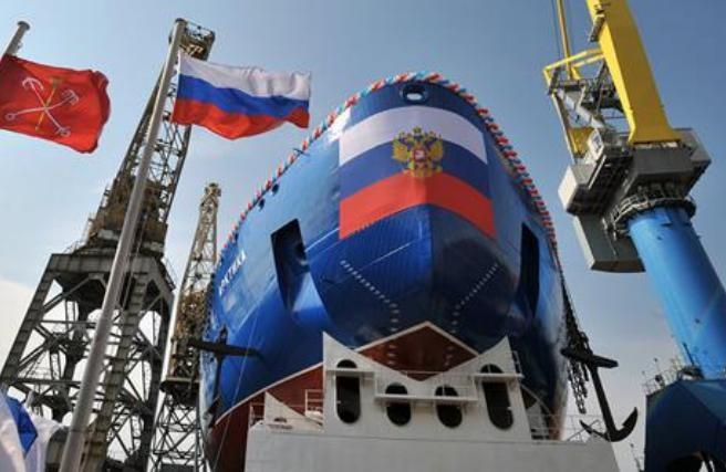 Tàu phá băng động cơ hạt nhân Nga. Ảnh: sina