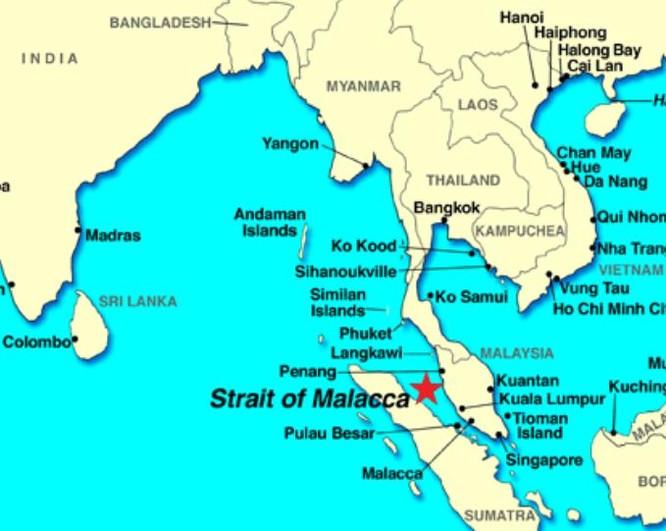 Eo biển Malacca - khu vực có hình ngôi sao (ảnh tư liệu)