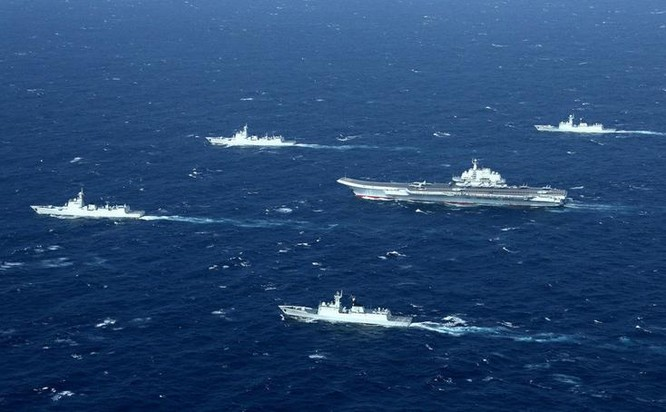 Biên đội tàu sân bay Liêu Ninh, Hải quân Trung Quốc. Ảnh: Guancha