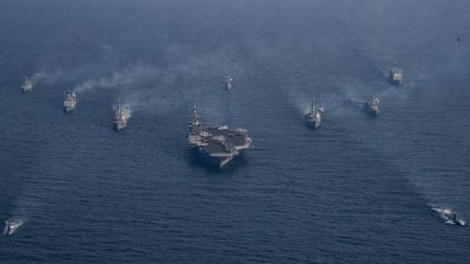 Biên đội tàu sân bay trong cuộc tập trận chung Mỹ - Hàn. Ảnh: QQ