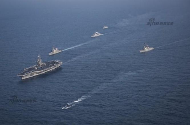Hai hạm đội tàu sân bay Mỹ tập trung ở xung quanh Triều Tiên. Ảnh: Sina
