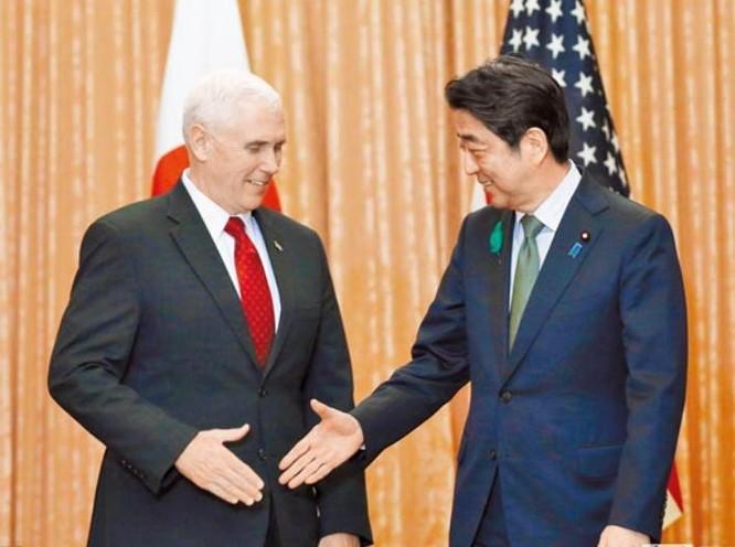Ngày 18/4/2017, tại Tokyo, Phó Tổng thống Mỹ Mike Pence hội kiến với Thủ tướng Nhật Bản Shinzo Abe. Ảnh: Chinatimes