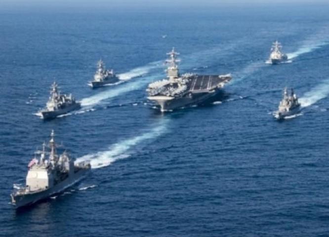 Cụm tấn công tàu sân bay USS Carl Vinson. Ảnh: Sina