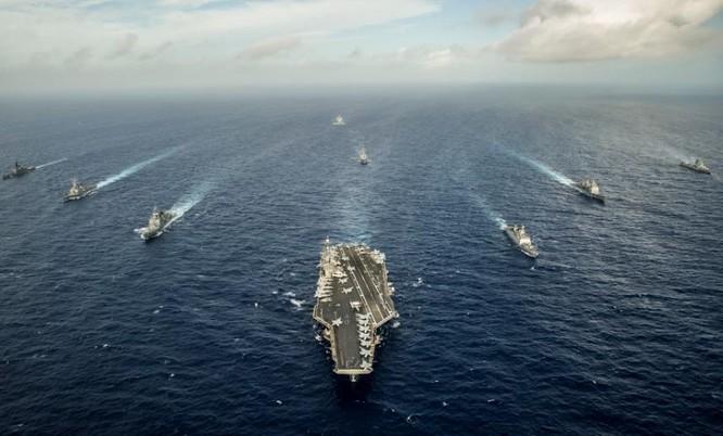 Hải quân Mỹ, Nhật Bản và Ấn Độ trong một cuộc tập trận chung. Ảnh: Sina