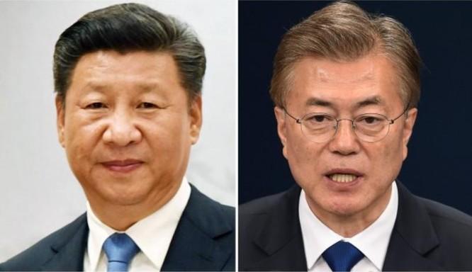 Chủ tịch Trung Quốc Tập Cận Bình và Tân Tổng thống Hàn Quốc Moon Jae-in đã tiến hành điện đàm. Ảnh: South China Morning Post