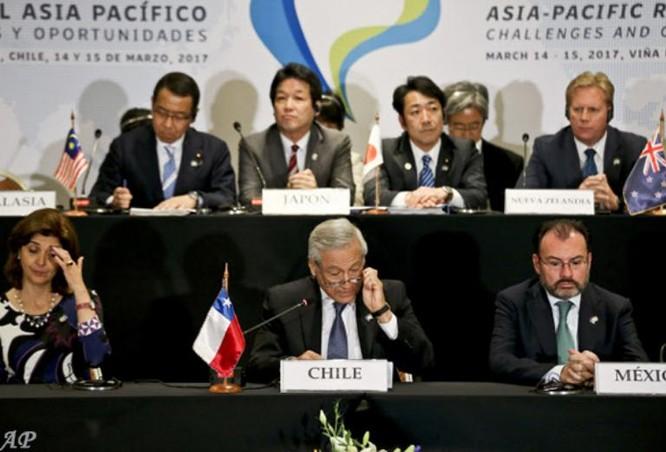Hội nghị cấp Bộ trưởng đầu tiên của các nước thành viên TPP tổ chức ở Chile vào ngày 15/3/2017. Ảnh: AP