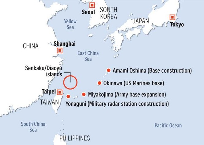 Đảo Yonaguni cách đảo Senkaku khoảng 150 km. Ảnh: The Straits Times