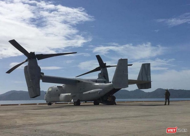 Máy bay vận tải cánh xoay nghiên Osprey Mỹ trong cuộc tập trận Balikatan 2017 giữa Mỹ và Philippines. Ảnh: Rappler