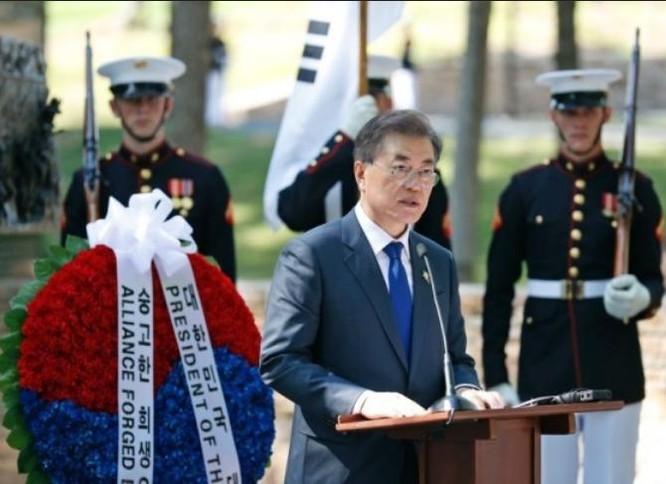 Tổng thống Hàn Quốc Moon Jae-in tại Mỹ ngày 28/6/2017. Ảnh: QQ