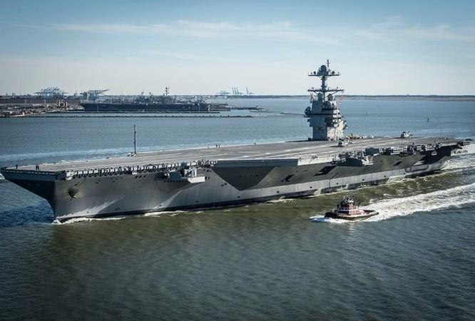 Tàu sân bay động cơ hạt nhân thế hệ mới USS Gerald Ford Mỹ. Ảnh: The Financial Express.