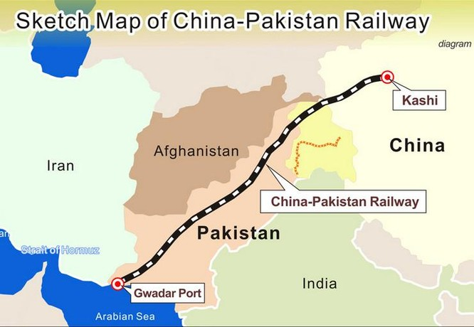 Trung Quốc xây dựng tuyến đường sắt nối đất liền Trung Quốc đi qua lãnh thổ Pakistan đến cảng biển Gwadar ở Ấn Độ Dương. Ảnh: Tân Hoa xã.