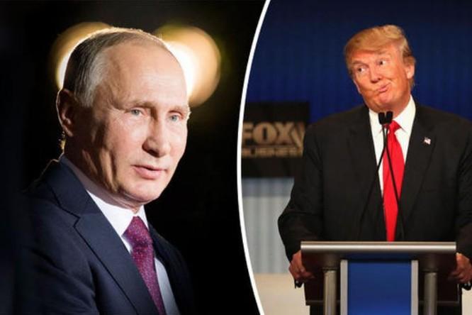 Tổng thống Nga Vladimir Putin và Tổng thống Mỹ Donald Trump. Ảnh: Daily Express.