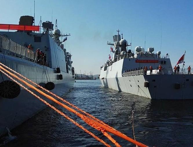 Tàu chiến Hải quân Trung Quốc đến Nga tham gia tập trận chung. Ảnh: China.com.cn.