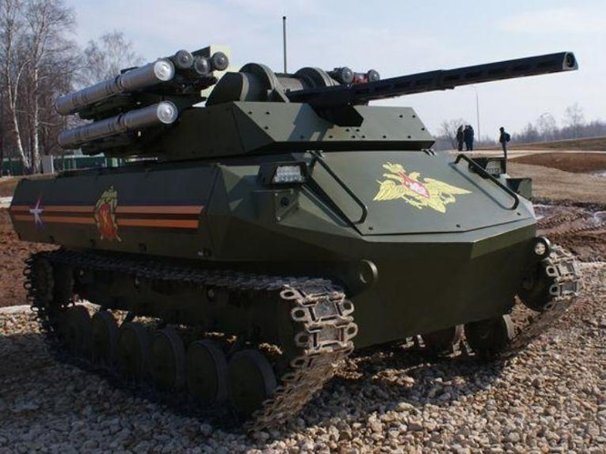 Xe chiến đấu không người lái Uran-9 Nga. Ảnh: Eastday.