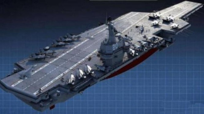 Hình ảnh tưởng tượng về tàu sân bay tự chế thứ hai Type 003 Trung Quốc. Ảnh: Sina.