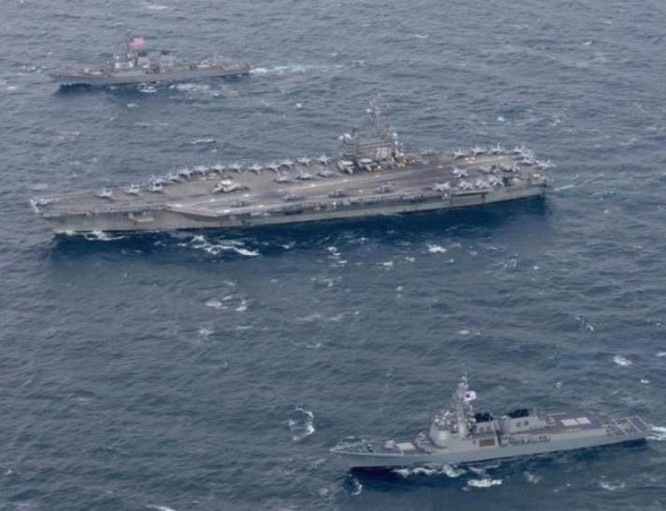 Mỹ và Hàn Quốc đang tiến hành tập trận chung ở vùng biển gần Triều Tiên. Ảnh: The Epoch Times.