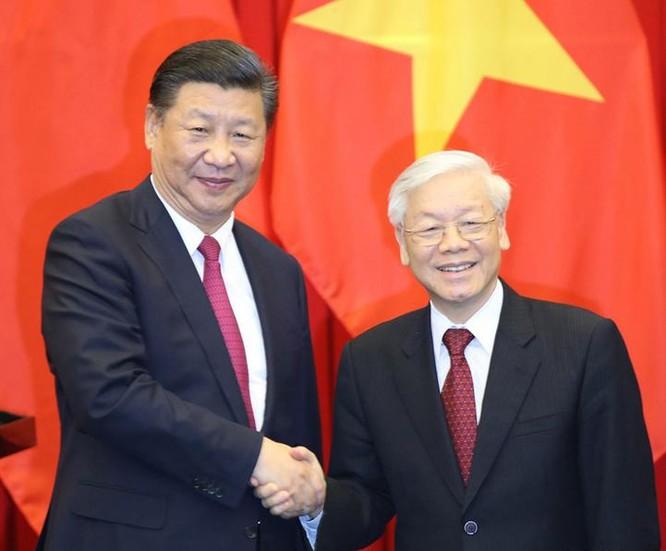 Tổng Bí thư Đảng Cộng sản Trung Quốc Tập Cận Bình và Tổng Bí thư Nguyễn Phú Trọng. Ảnh: Tân Hoa xã.