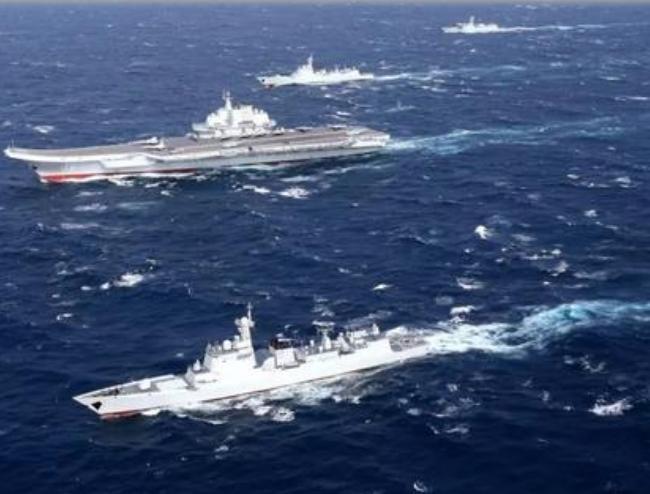 Biên đội tàu sân bay Liêu Ninh, hải quân Trung Quốc. Ảnh: Sina.