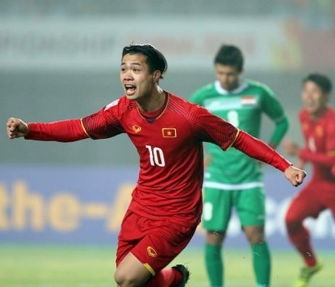 Cầu thủ Công Phượng ăn mừng chiến thắng sau bàn mở tỷ số trận đấu.