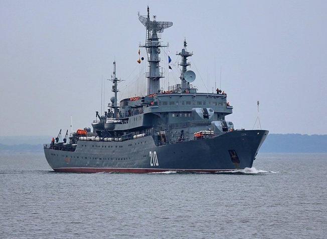 Tàu chiến mặt nước trong cụm chiến đấu tàu sân bay Nga. Ảnh: QQ.