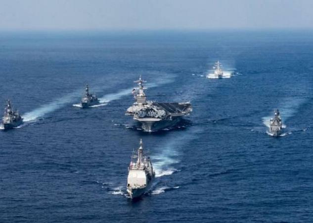 Ba cụm tấn công tàu sân bay Mỹ. Ảnh: FTchinese.