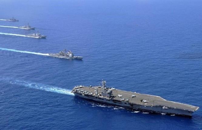Cụm tấn công tàu sân bay USS Nimitz trên Biển Đông. Ảnh: Business Insider.