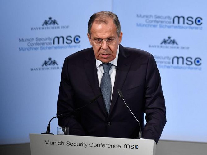 Ngoại trưởng Nga Sergey Lavrov tại Hội nghị An ninh Munich. Ảnh: The Telegraph.