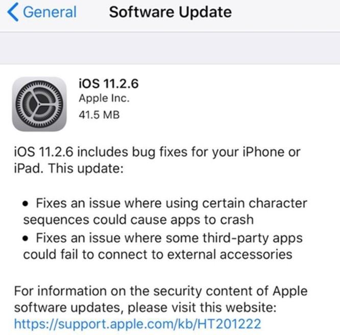Apple phát hành iOS 11.2.6 khắc phục lỗi ký tự tiếng Ấn Độ khiến máy bị crash - Ảnh 2