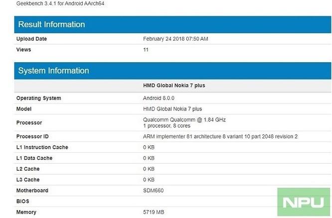 Nokia 7 Plus 6GB RAM xuất hiện trên Geekbench trước giờ ra mắt - Ảnh 2